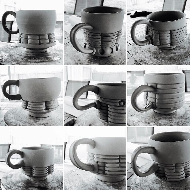 9 variations of the mug.  Playing with the shape and form of the handle the attachment point and the addition of a little transitional piece on a couple of them.  I have 4 more to finish later.  Gonna probably stare at this pic and figure out how I'm going to move forward.  _______________________________________________________ #handleproblems ##ceramics #clay #pottery #pots #wip #greenware #leatherhard #process #artist #ryanreichceramics #mug #mugs #coffee #coffeemug #mugshotmonday…