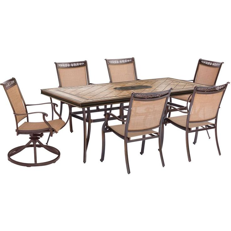 "7pc Dining Set:6 Sling Dining Chrs, 2 Swvl Chrs, 40x68"" Tile Top Table"