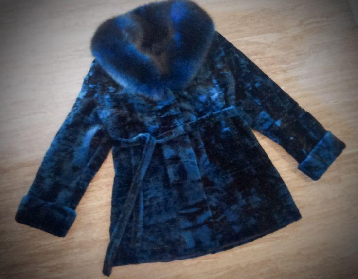 Fur Coat/ Real fur/ Mink fur with fox fur trim/ blue-black color by ReginaFurs on Etsy