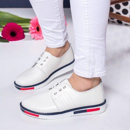 Pantofi dama Piele Stipanov albi casual