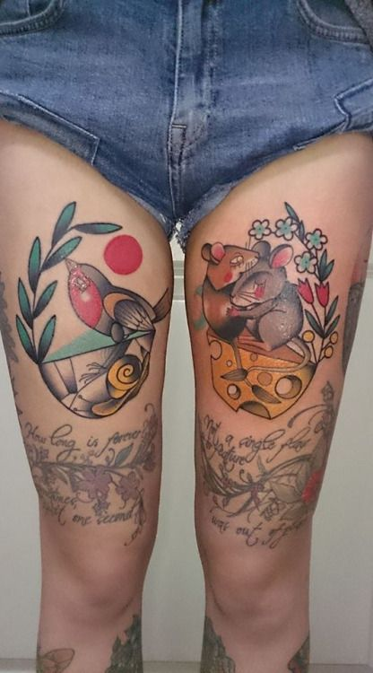 My awesome new tattoos! Robin bird and snail, gerbils and...