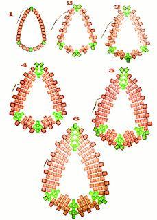 Bigyibogyó: Kék csepp lógós fülbevaló. Free beading pattern for earrings. No translation needed.