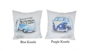 VW Cushion This pair of 38cmx38cm VW Kombi Van cushions are modern & stylish & will add a beachy touch to your room. White cushion cover features popular VW Kombi Van's in blue & purple. Both cushions feature a VW with a surf board leaning against the vehicle with shells underneath. Backgrounds are white with faint scroll readings. Hidden zips allow for easy cleaning. Includes cushion insert. $39.95