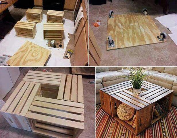 Mesa de sala con cajones de madera reciclados