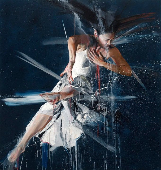 Simon Birch creates beautifully expressive full-body portraits of people in motion. His smeared paintings capture the energetic beauty of movement, giving an artistic rendition of motion that is both elegant and powerful.