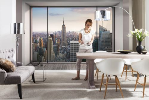 details about wall mural new york city skyline penthouse. Black Bedroom Furniture Sets. Home Design Ideas
