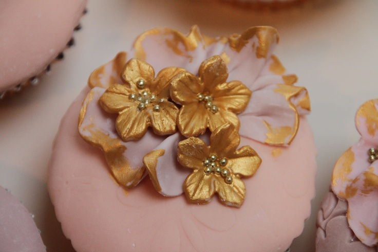Gold and pink ruffle flower cupcake
