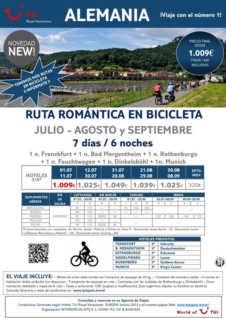 ¡Novedad! ALEMANIA - Ruta romántica en bicicleta. Precio final desde 1.009€ - http://zocotours.com/novedad-alemania-ruta-romantica-en-bicicleta-precio-final-desde-1-009e/