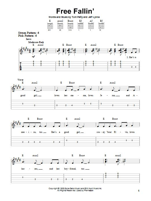 Tom Petty: Free Fallin\' - Easy Guitar Tab | Leaning to play ...