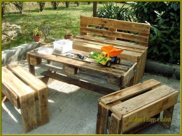 Salons De Jardin Faits Avec Des Palettes En Bois Pallet Pinterest Furniture Backyards