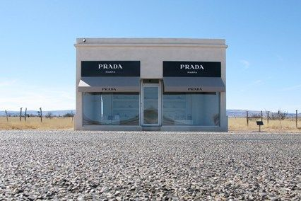 """Texas│The Prada Marfa """"shop,"""" a permanently installed sculpture by British-based Scandinavian artists Michael Elmgreen and Ingar Dragset that was erected eight years ago, may be facing closure after being classified as an """"illegal outdoor advertising sign"""" by the Texas Department of Transportation. Federal law says it's a """"no-no"""" because it displays the Prada logo on a highway without permission.  http://bigpicture.net/content/ford-and-3m-new-commercial-graphics-tool"""