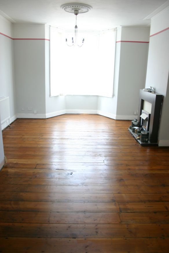 refinishing floors living room - osmo polyx oil in amber - victorian floorboards - little greene French grey mid