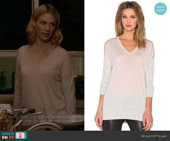 Melissa's pink and grey v-neck sweater on Last Man on Earth. Outfit Details: https://wornontv.net/56878/ #LastManOnEarth