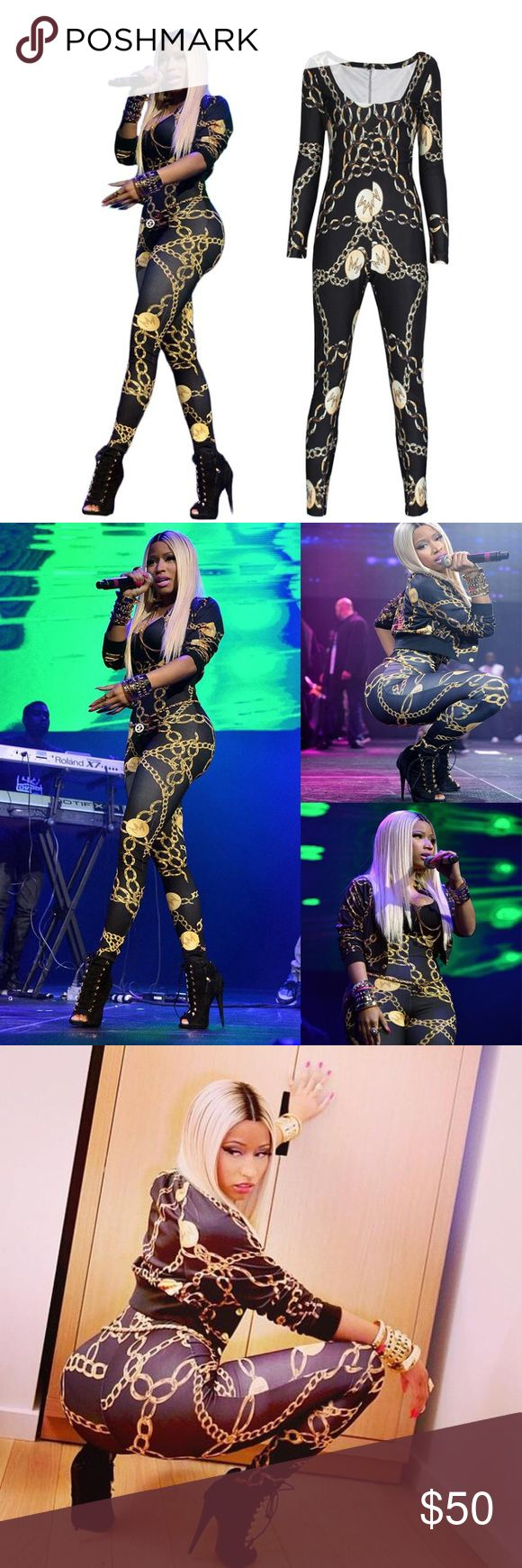 COMING! Nicki Minaj Gold Chain Patterned Jumpsuit Worn by the queen of rap at one of her concerts, this tight sexy gold chain patterned jumpsuit is perfect for any occasion. Style it with a gold chain belt and heels like Nicki Minaj did and you're ready to slay 😉 ✔️15% off 2 or more items when you bundle  ✔️Bundle with other listings and I'll offer you a private discount  ❌No trades  Tags: follow game share group followers trendy sexy cute celebrity Pants Jumpsuits & Rompers