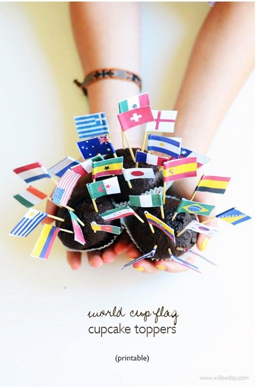 FREE printable World Cup Flag Cupcake Toppers | willow day