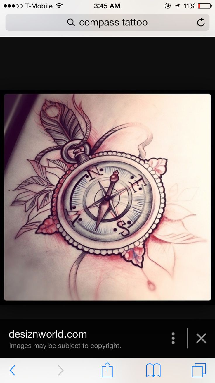 80 crazy and amazing tattoo designs for men and women desiznworld - Most Beautiful Compass Tattoo With Leaves And Feather Add In A Sunflower To Tie In With Sleeve