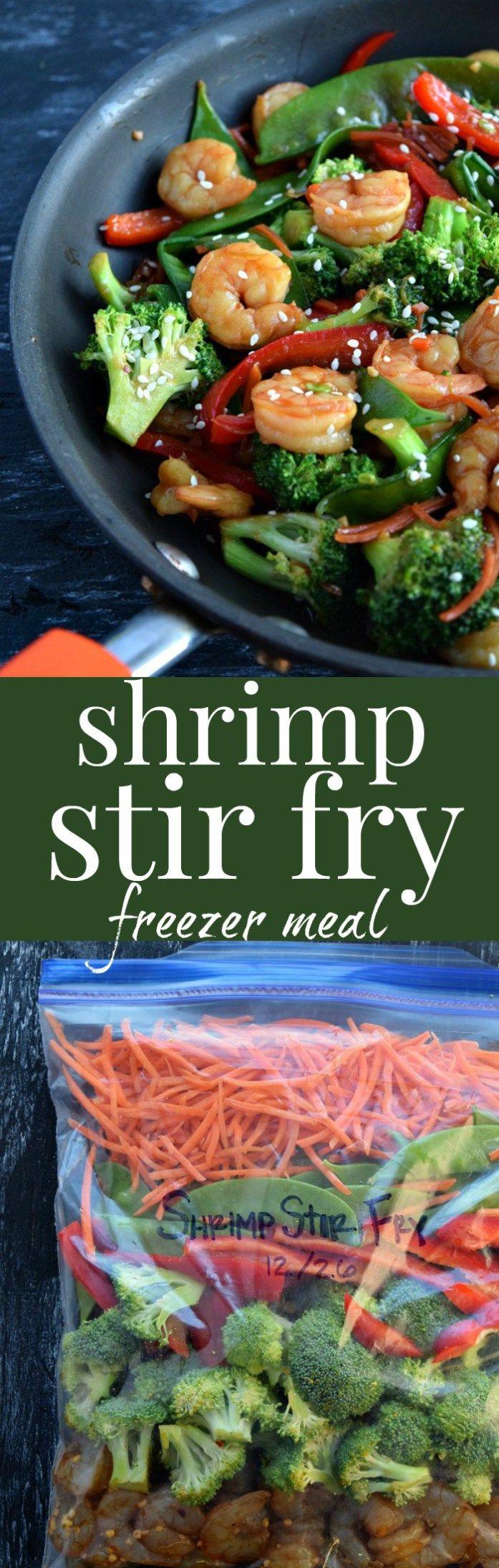 Shrimp Stir Fry Freezer Meal Pinterest Pin #freezermeal #stirfry #dinnerideas