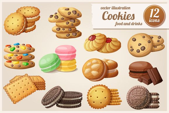 Cookies: Cartoon vector food icons by Ann-zabella on Creative Market
