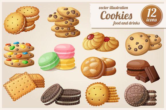 Cookies: Cartoon vector food icons by Ann-zabella on Creative Market