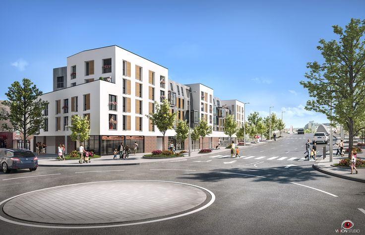 Illustration extérieur 3D pour un programme à Compiègne pour Eiffage Immobilier