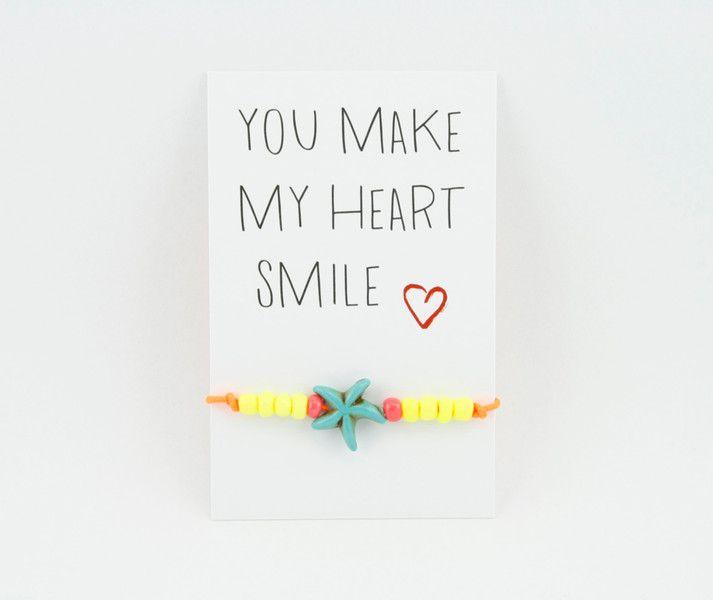Armbänder - Armband neon *you make my heart smile* Seestern - ein Designerstück von Carjou bei DaWanda