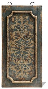 Old World Traditional Art Panel Molded, Distressed Turquoise traditional-wall-sculptures