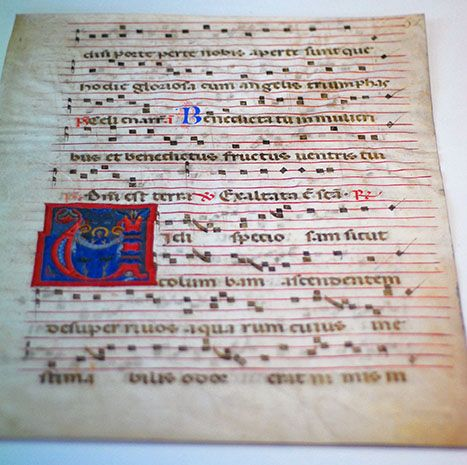 Object 2, possibly 15th century Italian illuminated manuscript page, as can be seen on display in the GSA library. Could match register number '14-169 in inventory. Archival reference: GSAA/EPH/11/3/2