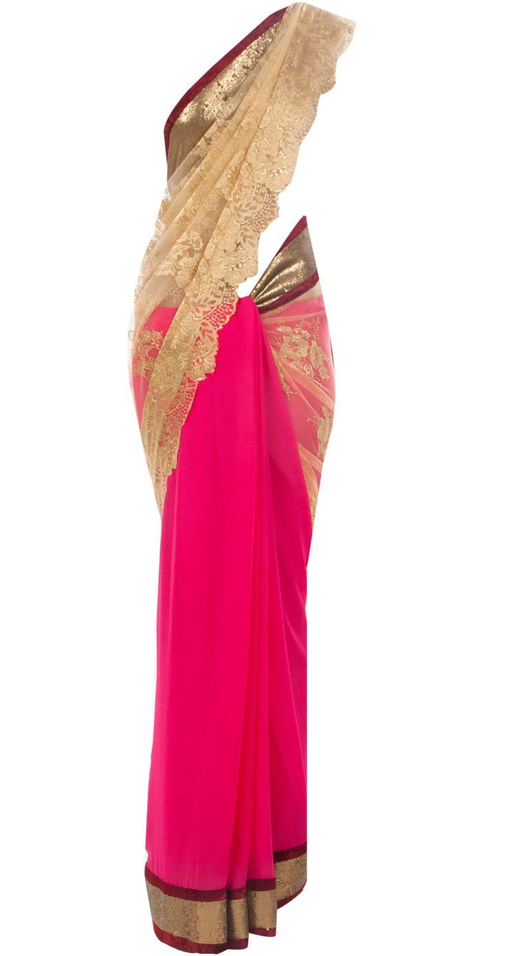 Fuschia and gold chantilly lace sari by VARUN BAHL.