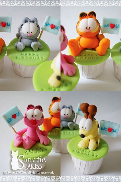 3D Garfield and friends cupcakes by SweetieNeko Homemade Sweets, via Flickr