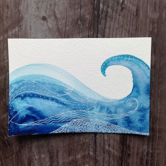 Ocean Waves Original Watercolor Painting by alchemyofthought                                                                                                                                                                                 More