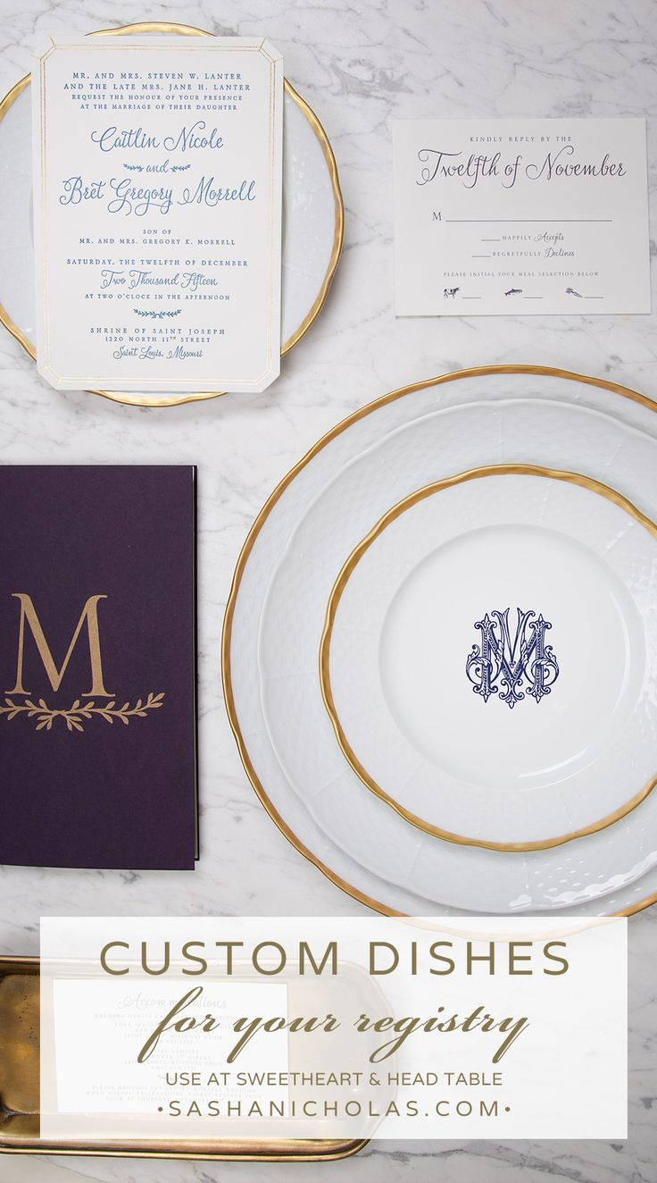 Beautiful tablescapes are a great way to set the tone for your guests during a meal. Using white porcelain china is a classic approach when setting your table. Add a custom monogram to your classic white dishes to give them a unique touch. Make registering for your wedding dinnerware more fun by creating your own monogram for your family�s dishes at https://www.sashanicholas.com/registry/ | Wedding Inspiration & Ideas | Tablescapes | China