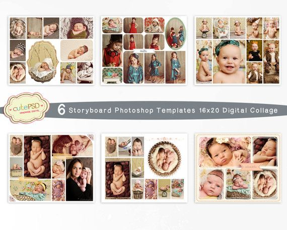 6 Storyboard Photoshop Templates 16x20 Digital Collage by CutePSD, $8.00