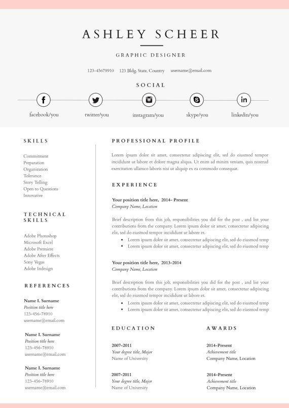 Epingle Sur Resume Design Free