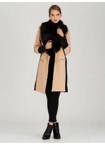 STYLE REPUBLIC | Detachable Faux Fur Collar Coat Camel