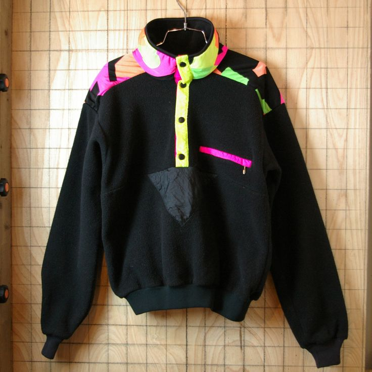 【SUNBUSTER】USA製古着ネオンカラーアウトドアプルオーバーフリースジャケット