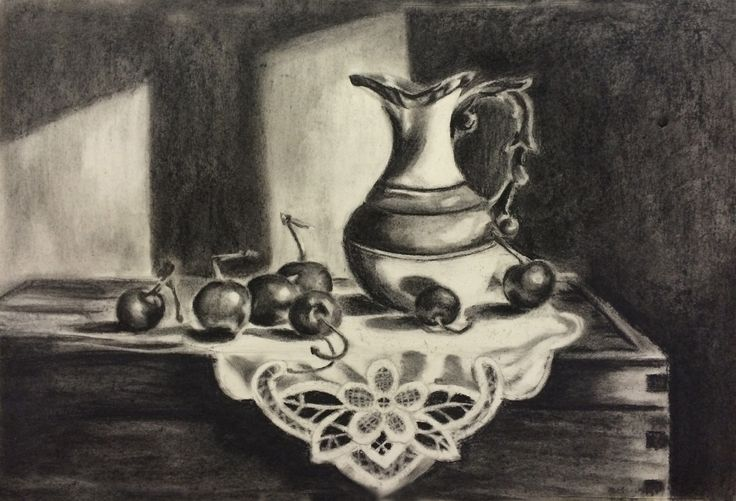 Still life charcoal on paper