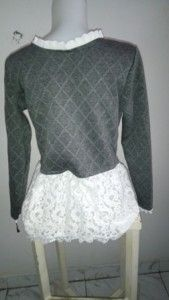 tampilan belakang baju atasan wanita sweater renda