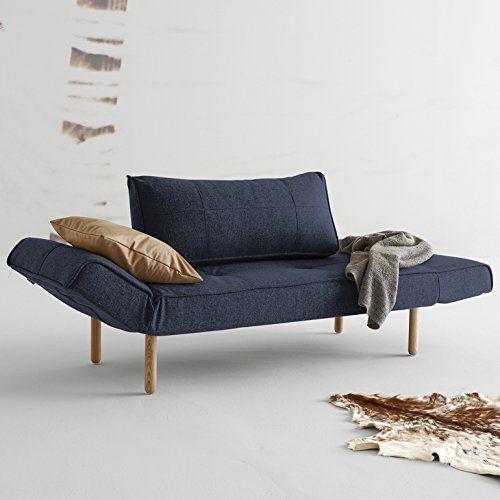 Innovation Schlafsofa mit Holzbeinen Zeal Stem Textil dunkelblau