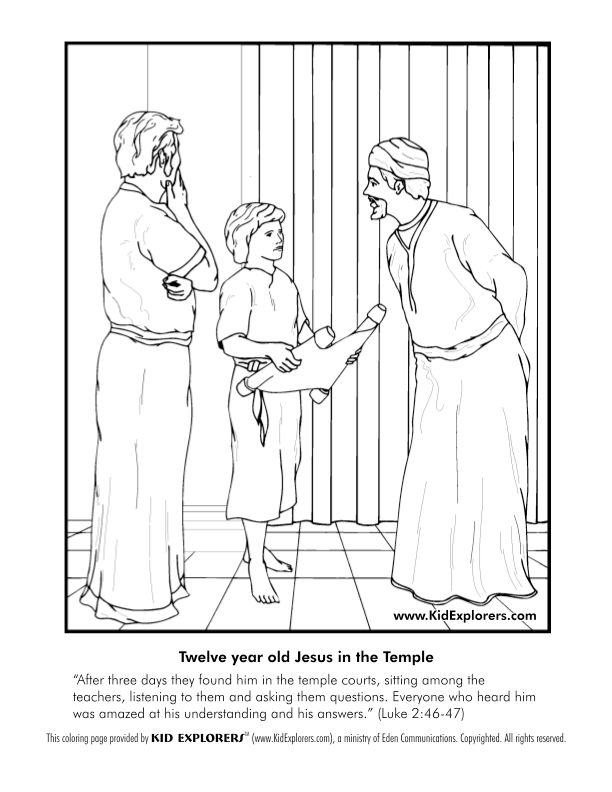 Jesus went to church when he was 12 coloring - Google Search