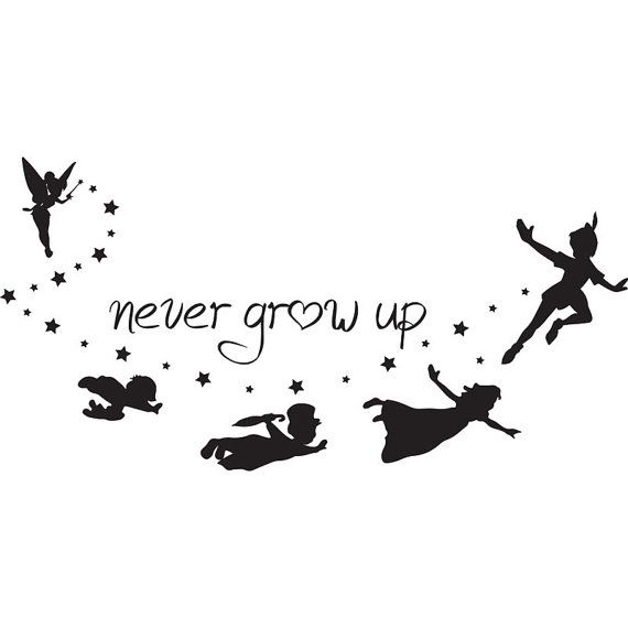 disney, peter pan, never grow up, peter pan quote, disney vacation, iron on decal, vinyl iron on, glitter iron on