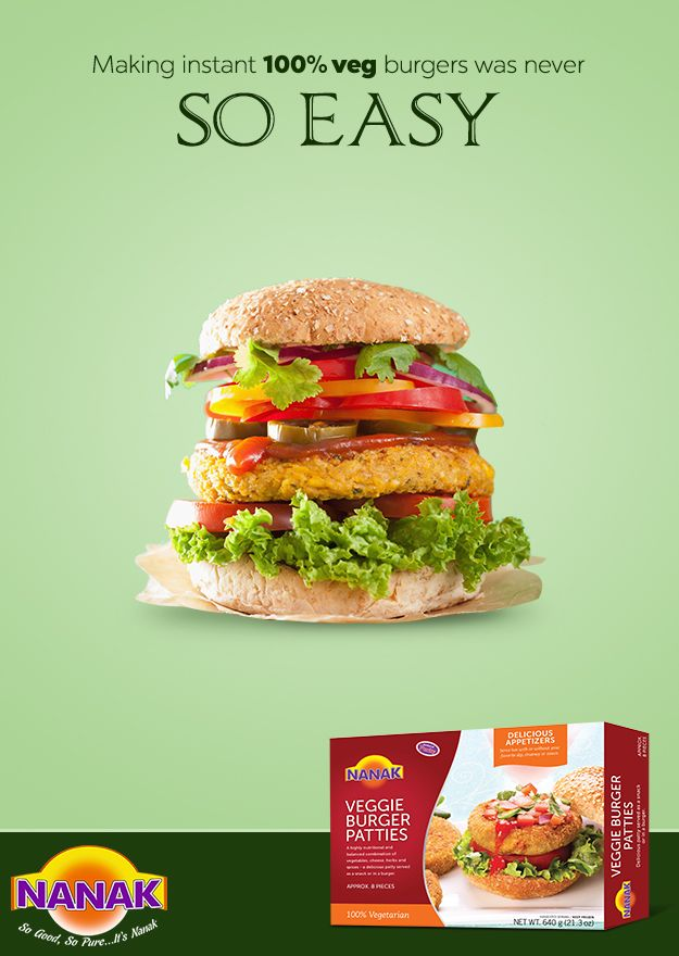 Make fresh burgers in a jiffy with Nanak's veggie #burger patties. #NanakFoods #Burger