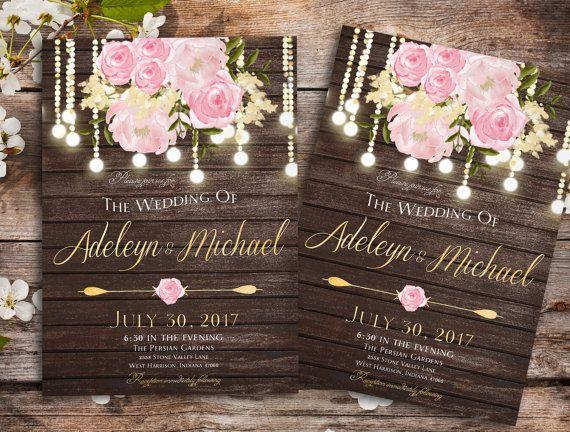 Rustic Wedding Invitation Printable Fl