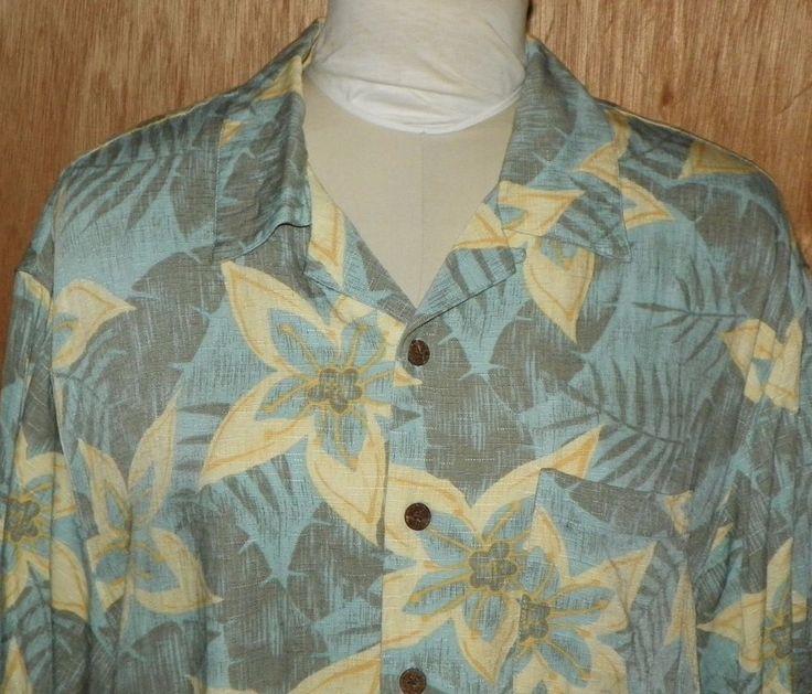 Caribbean Joe Hawaiian Aloha Shirt Blue Yellow Gray Hibiscus Mens Size XL #CaribbeanJoe #Hawaiian #ebayROCteam