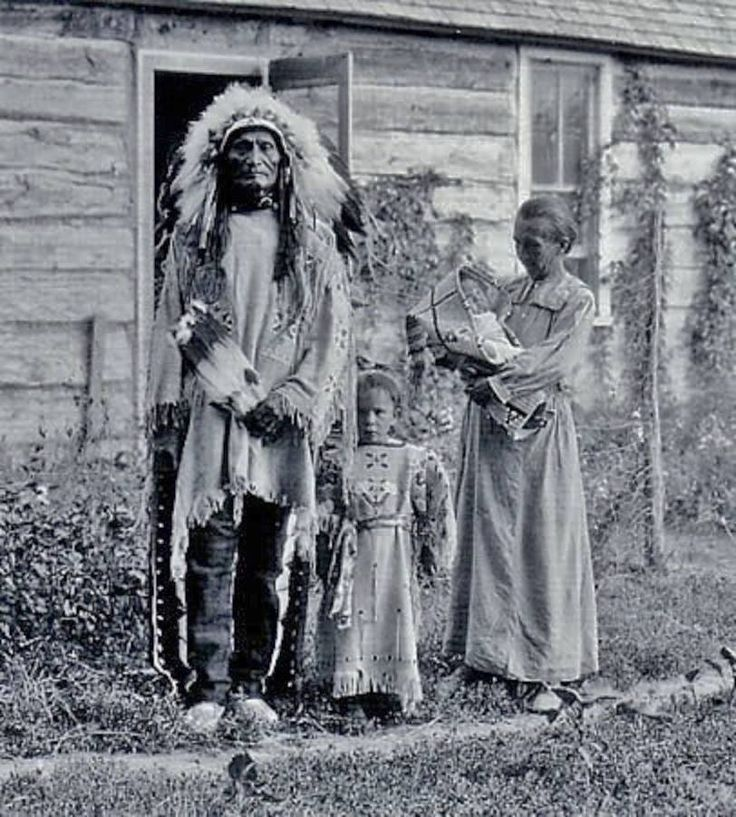 Stephen Standing Bear (Oglala Lakota/Mniconjou Lakota) with his Austrian wife known as Louise Rieneck-Standing Bear, and two of their three daughters - 1912