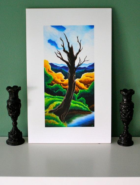 Tree landscape print, mountains, creek, blue sky, fine art giclee print 6x12 Peace in the Valley Farm, Creek Tree, Sarah Nathaniel