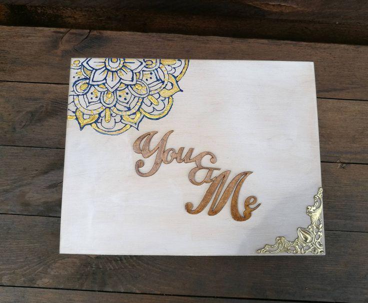 personalized wedding ring box, bridal, retro, mandala, yoga gypsy vintage, wedding ring, 3d couple, wooden box by jkopiece on Etsy