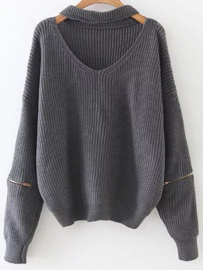SHARE & Get it FREE | Zipped Oversized Choker Neck SweaterFor Fashion Lovers only:80,000+ Items • New Arrivals Daily Join Zaful: Get YOUR $50 NOW!