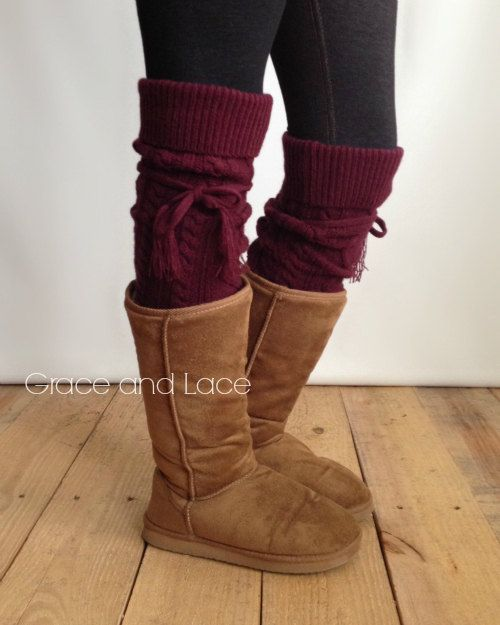 Alpine Thigh High Slouch Sock - WINE thick cable knit socks w/ fold over cuff and tassel tie - boot sock leg warmer (item no. 6-57)
