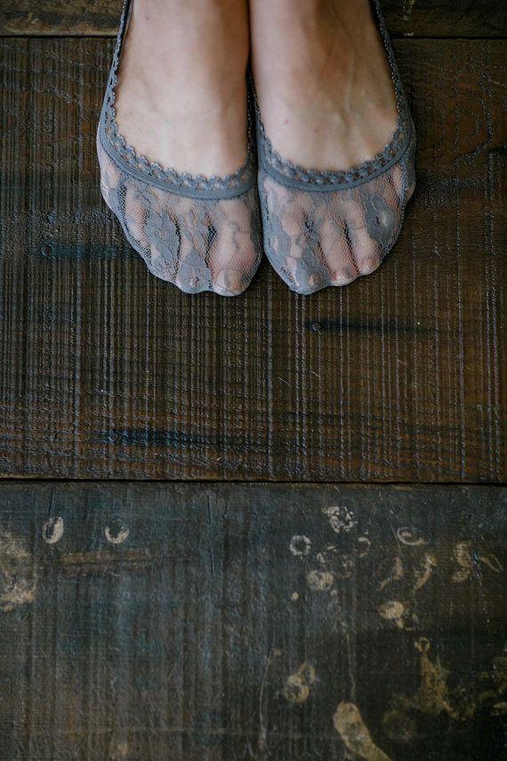 Lace Peep Toe Socks, Short Socks, No Show Lace Socks, Short Bootie Sock, Women's Floral Lace Ankle Sock in Gray (BS-101)