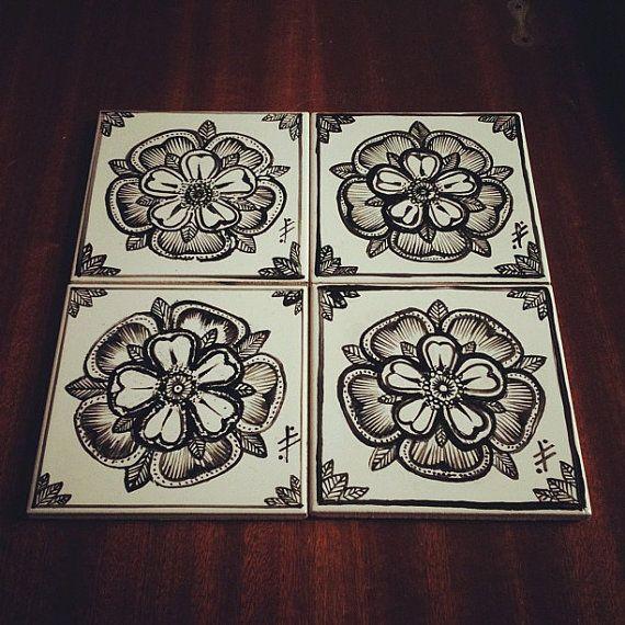 Hand painted Tudor Rose ceramic tile coaster with a red felt bottom.
